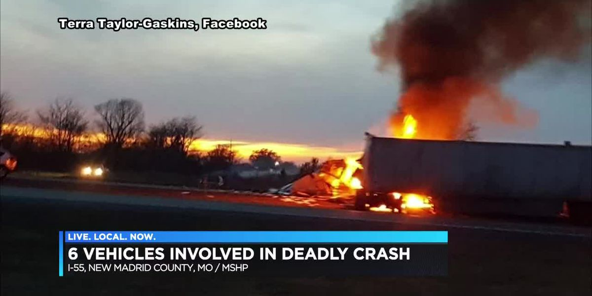 One killed in fiery multiple vehicle crash on I-55 in New Madrid Co.