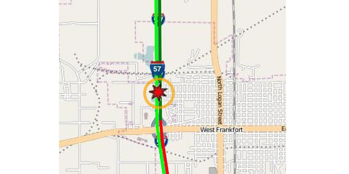 Northbound lanes closed after crash on I-57 in Franklin County, Ill.