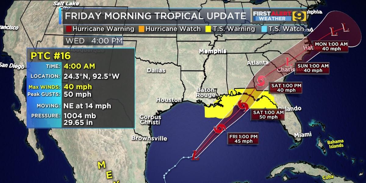 Potential La. impacts minimal as PTC 16 tracks through Gulf