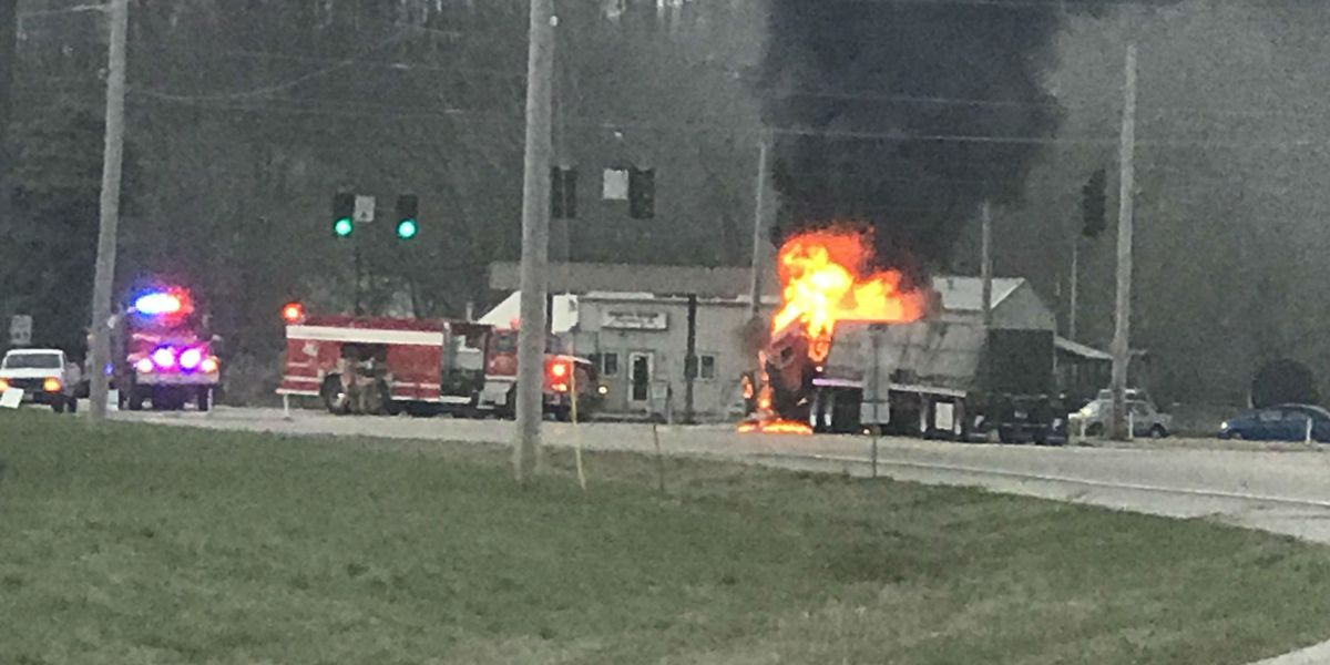Tractor trailer burst into flames after crash at intersection in Cape Girardeau Co.