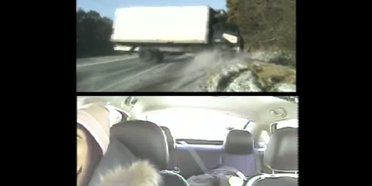 Ill. State Police dashcam video shows truck nearly hitting troopers, woman on icy road