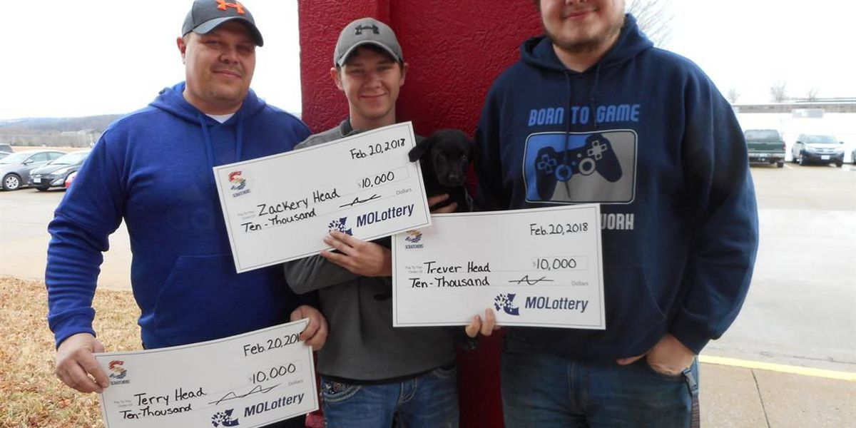 3 men, puppy win $10K from MO Lottery scratch-off ticket
