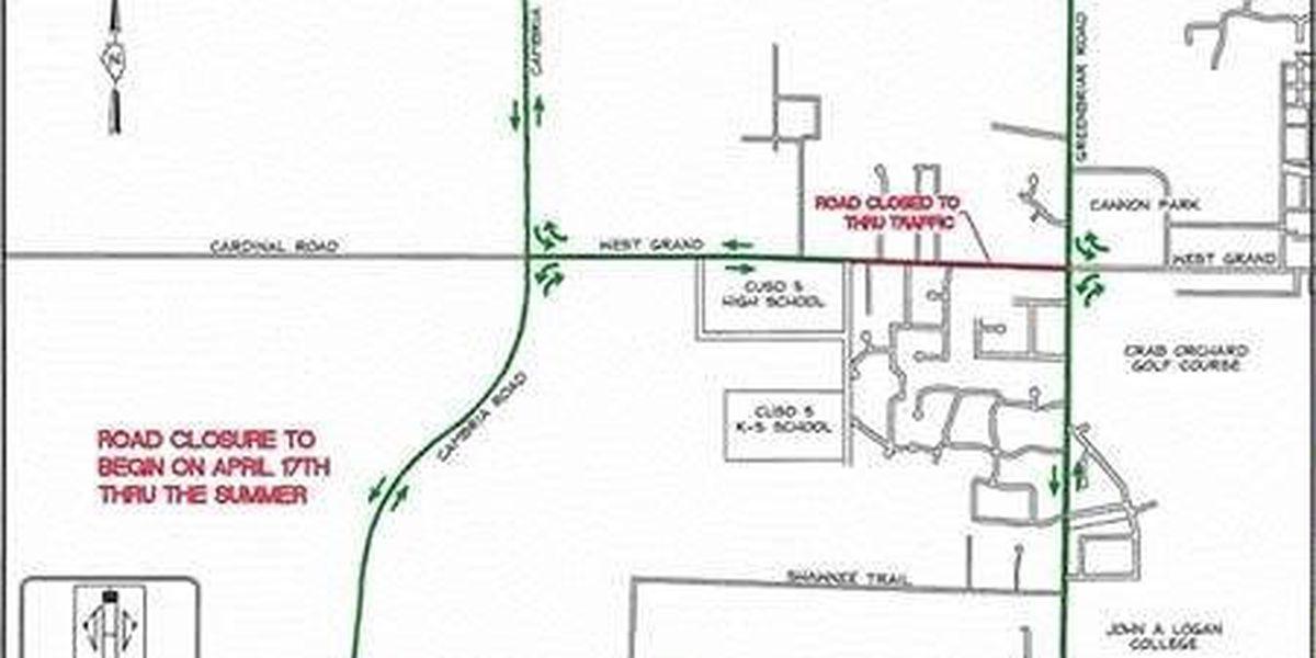 Major road closure in Carterville, IL