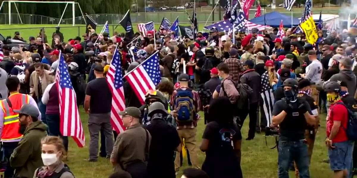 Right-wing Proud Boys group rallies in Portland, Oregon