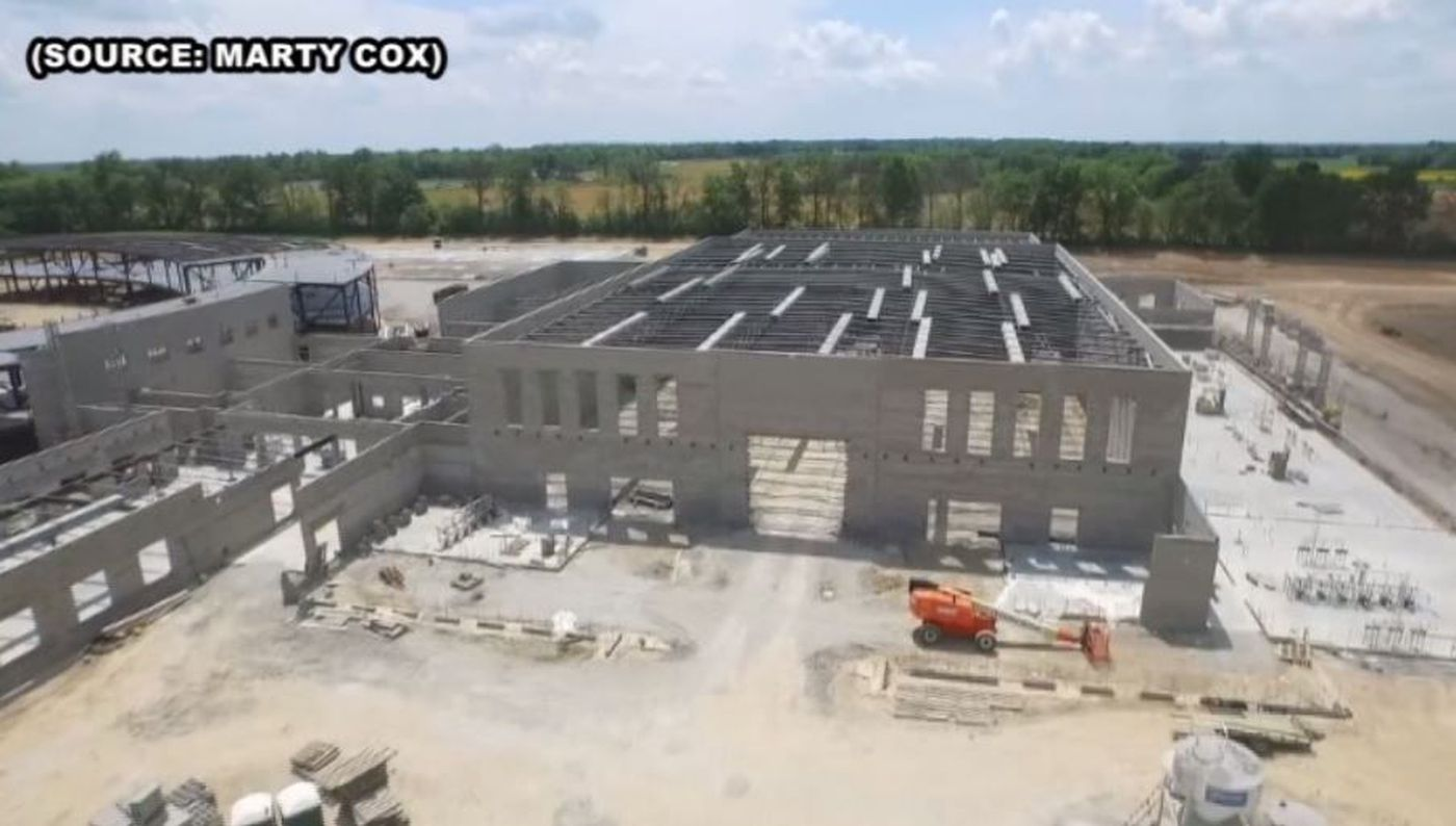 Aerial View Of The New Mt Vernon Il High School Under Construction