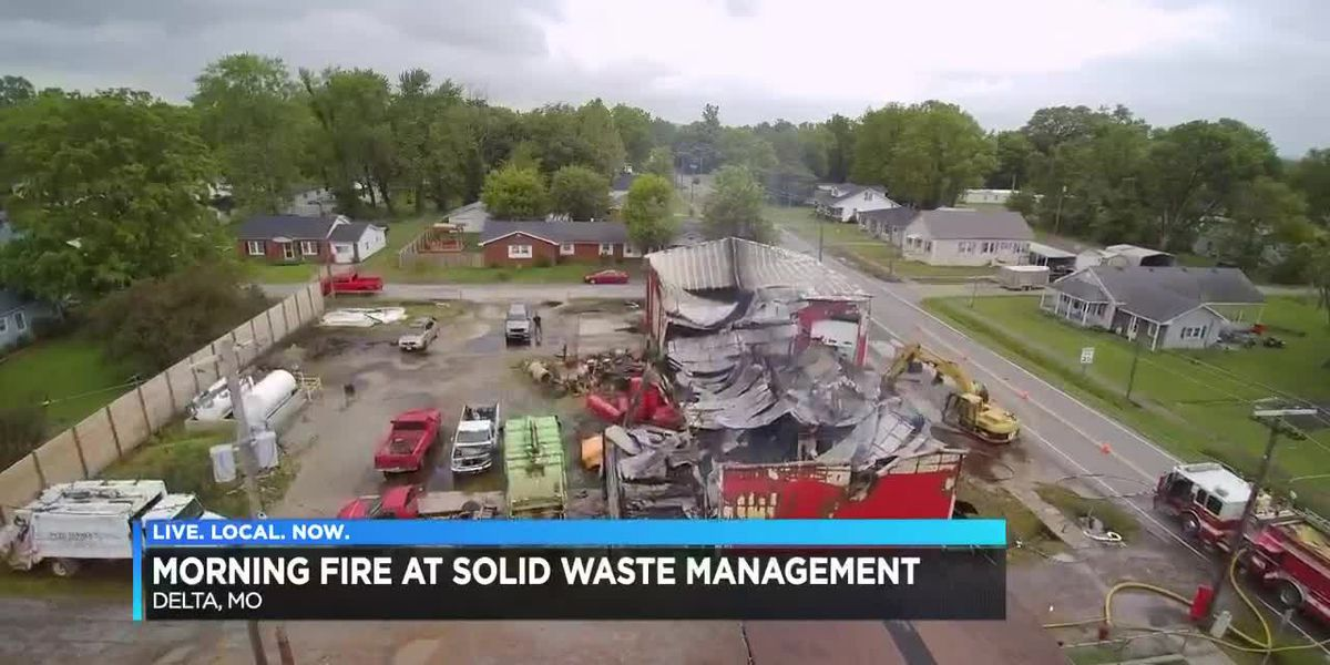 Crews respond to fire at a solid waste management company in Delta, Mo.