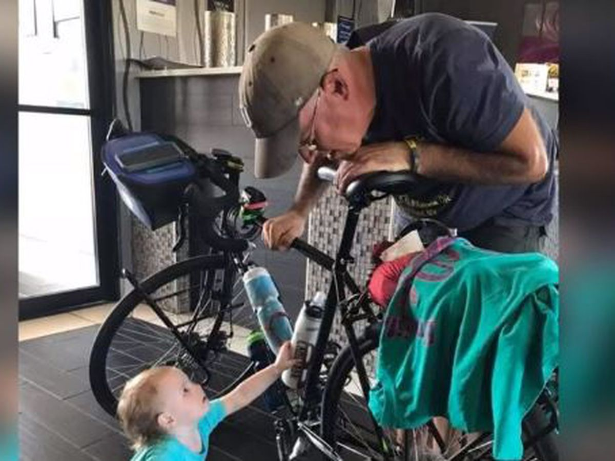 Man rides bike across the country to raise awarness about late son's tissue disorder
