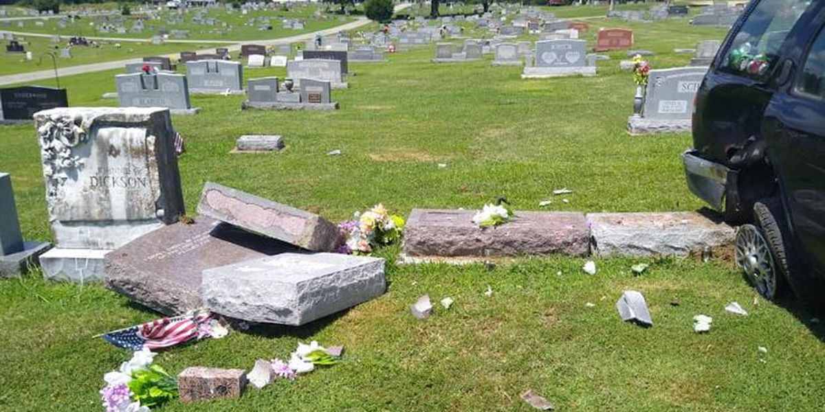 Man facing a dozen charges for 'doing donuts' in cemetery