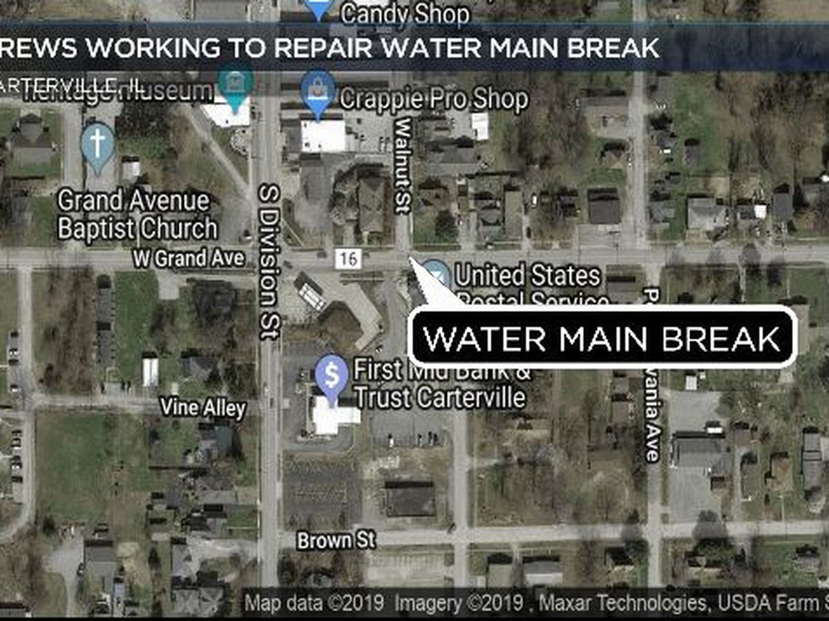Crews respond to 'large' water main break in Carterville