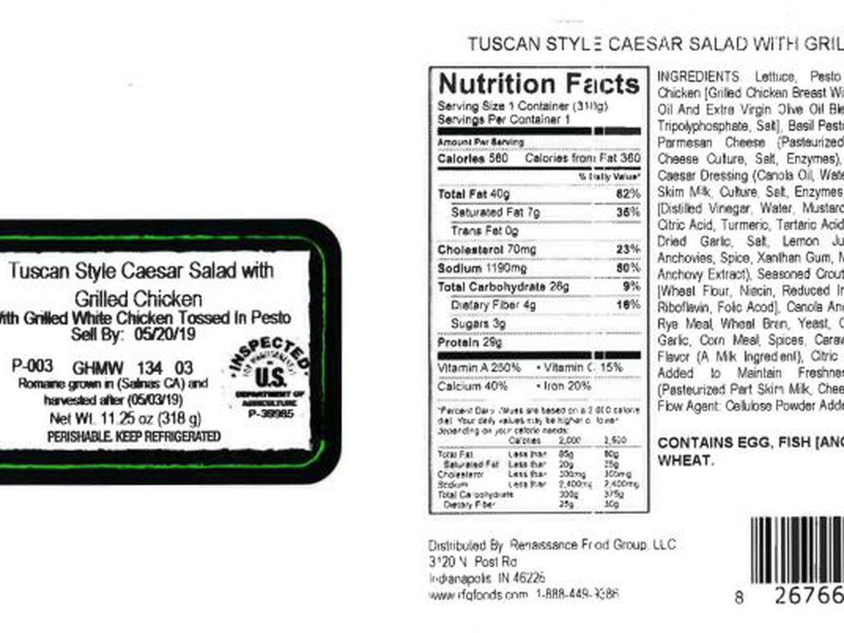 Salads with chicken products sold to Kroger stores recalled