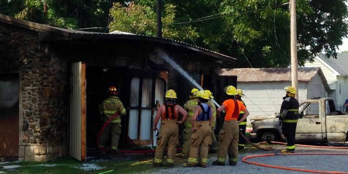 Garage destroyed by fire in Chaffee