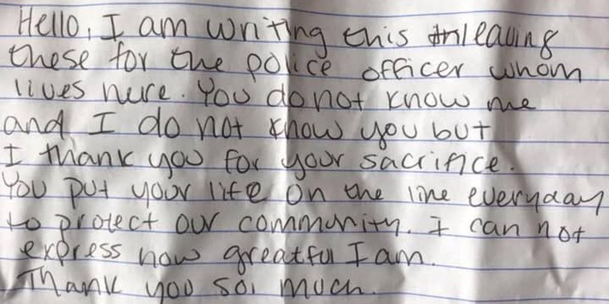 Handwritten note, roses left for Odessa Police officer