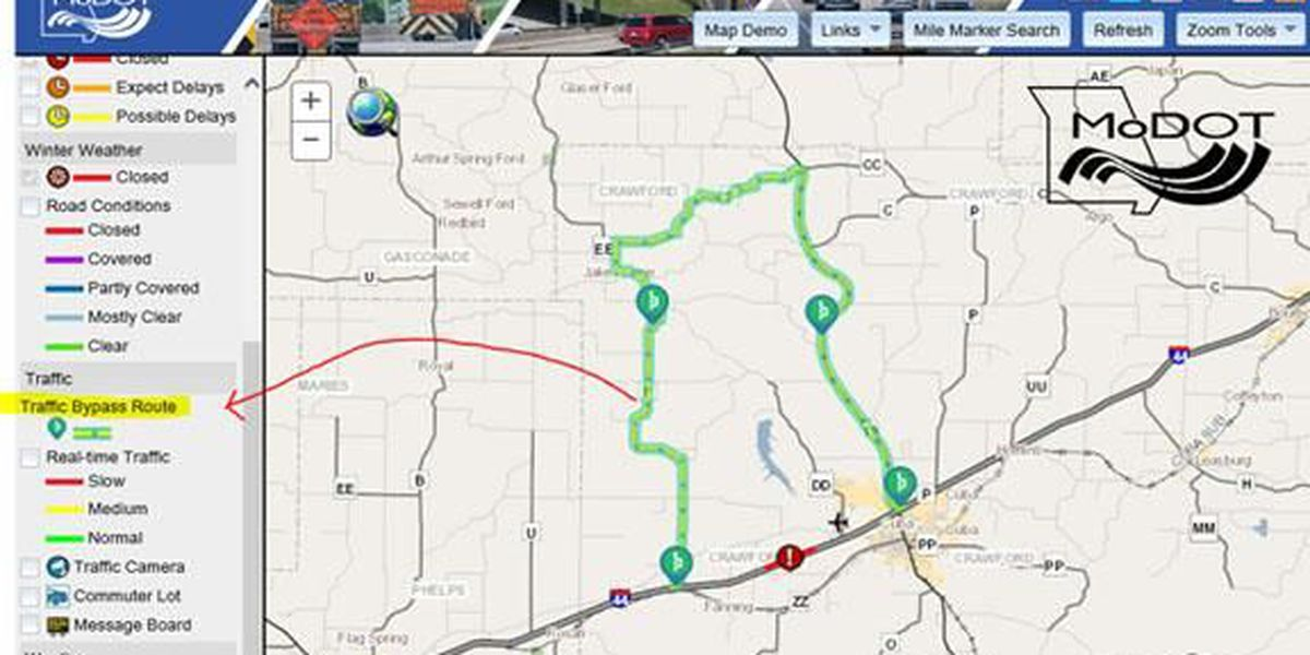Modot Travelers Map MoDOT Traveler Map gets new feature to show bypass routes Modot Travelers Map