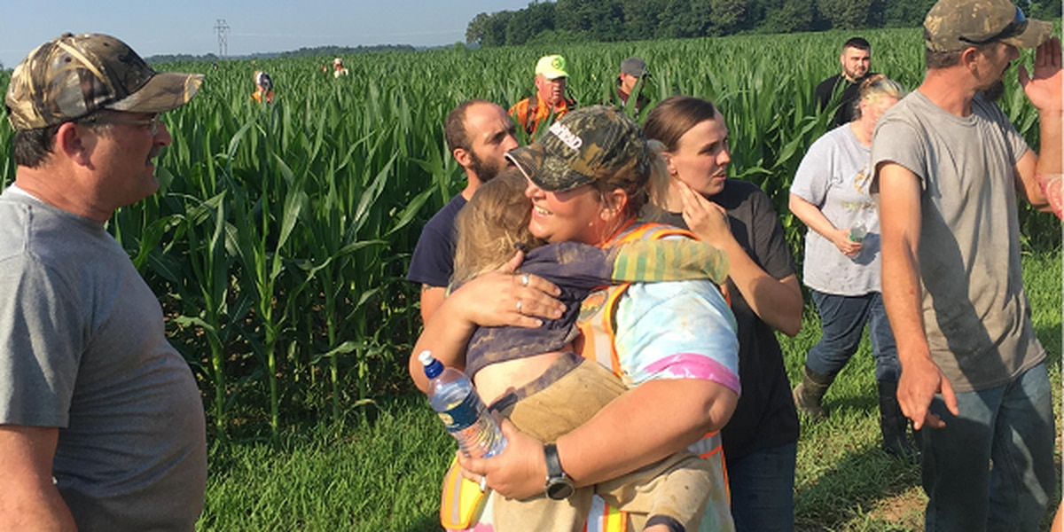 Missing 3-year-old, dog found in cornfield after search in southeast MO