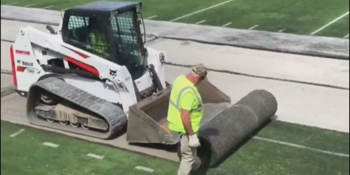 New turf installed at Saluki Stadium, old turf donated to animal shelter