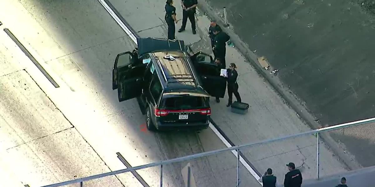 AERIAL VIDEO: Chase involving stolen hearse ends on LA freeway