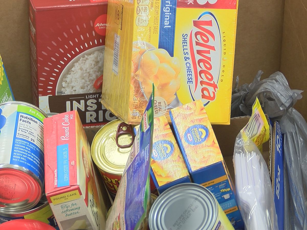 People drop off food for National Day of Service