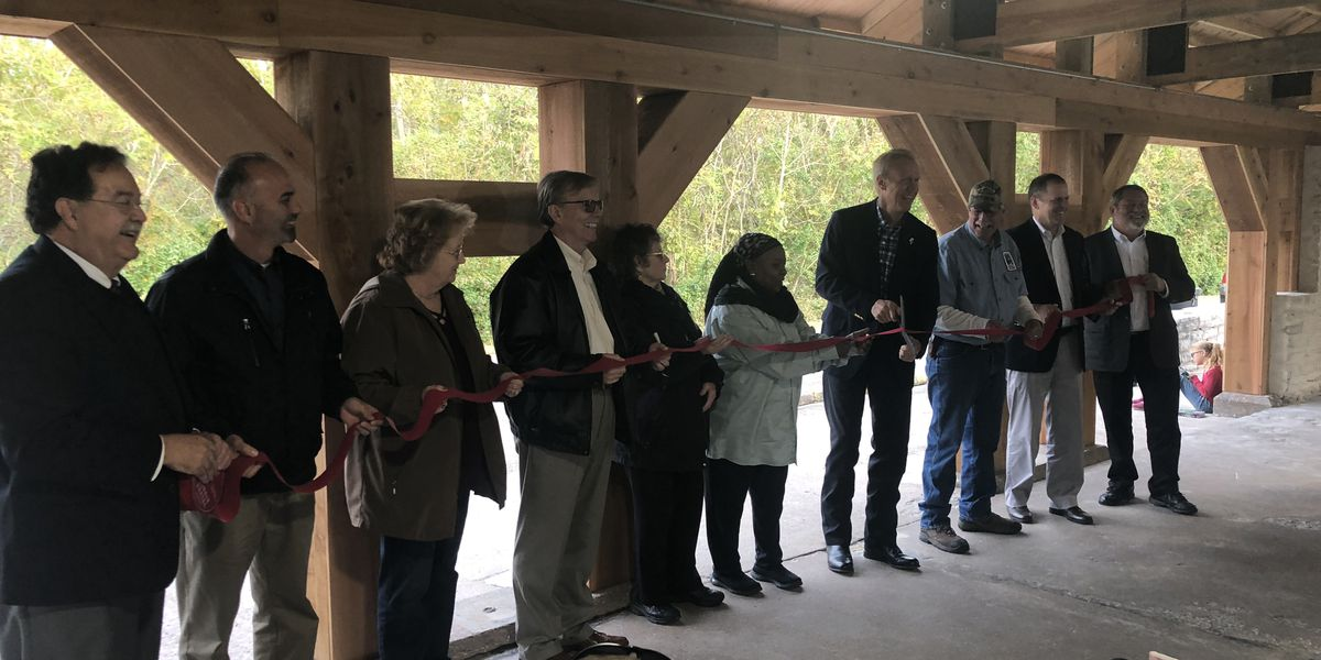 Illinois governor and locals raise money to complete Fort Kaskaskia shelter after fire