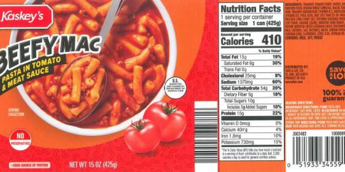Recall: Canned 'Beefy Mac Pasta' sold at Save-A-Lot stores due to possible processing defect