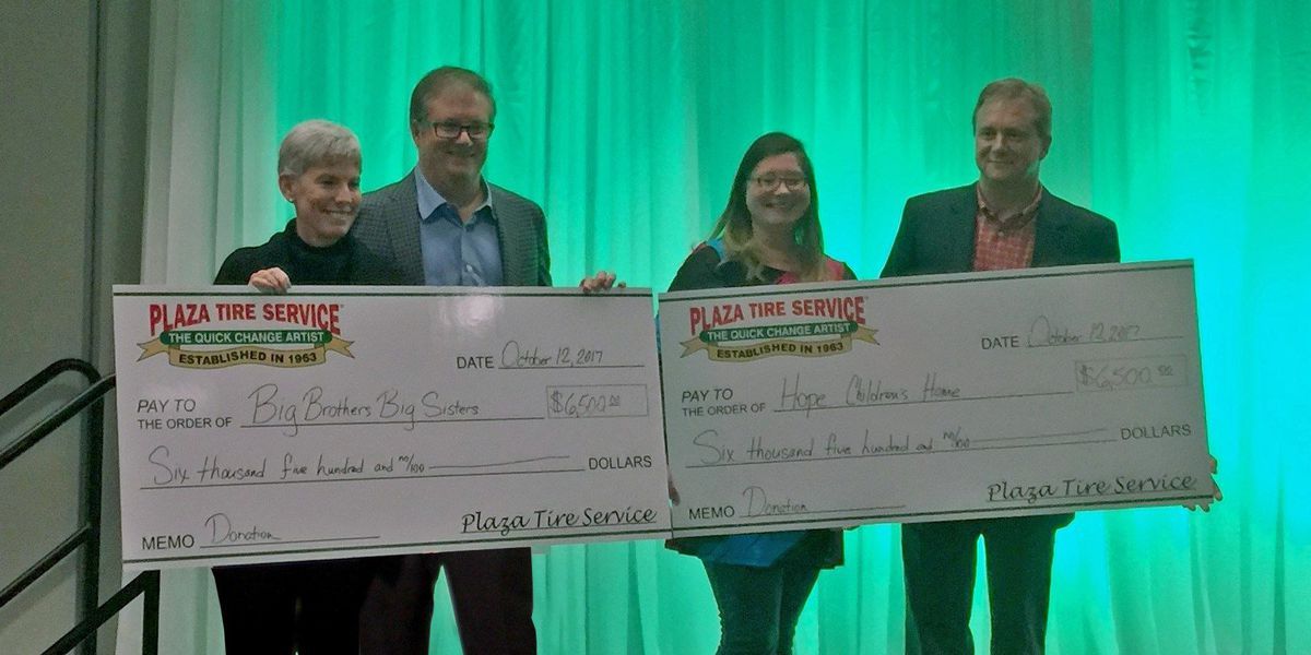 $13K donated by to children's charities by Plaza Tire