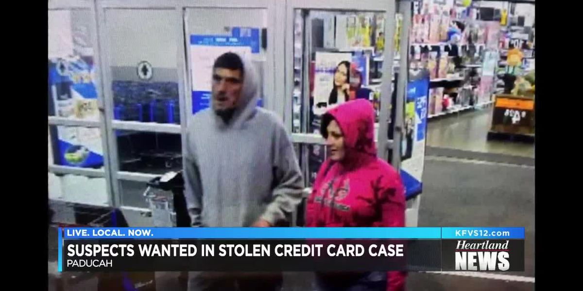 Two suspects wanted in stolen credit card case.