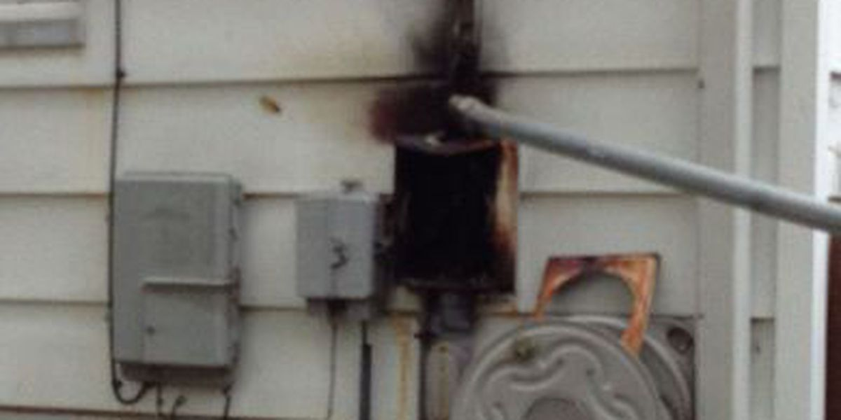 Fallen power line sparks electrical box