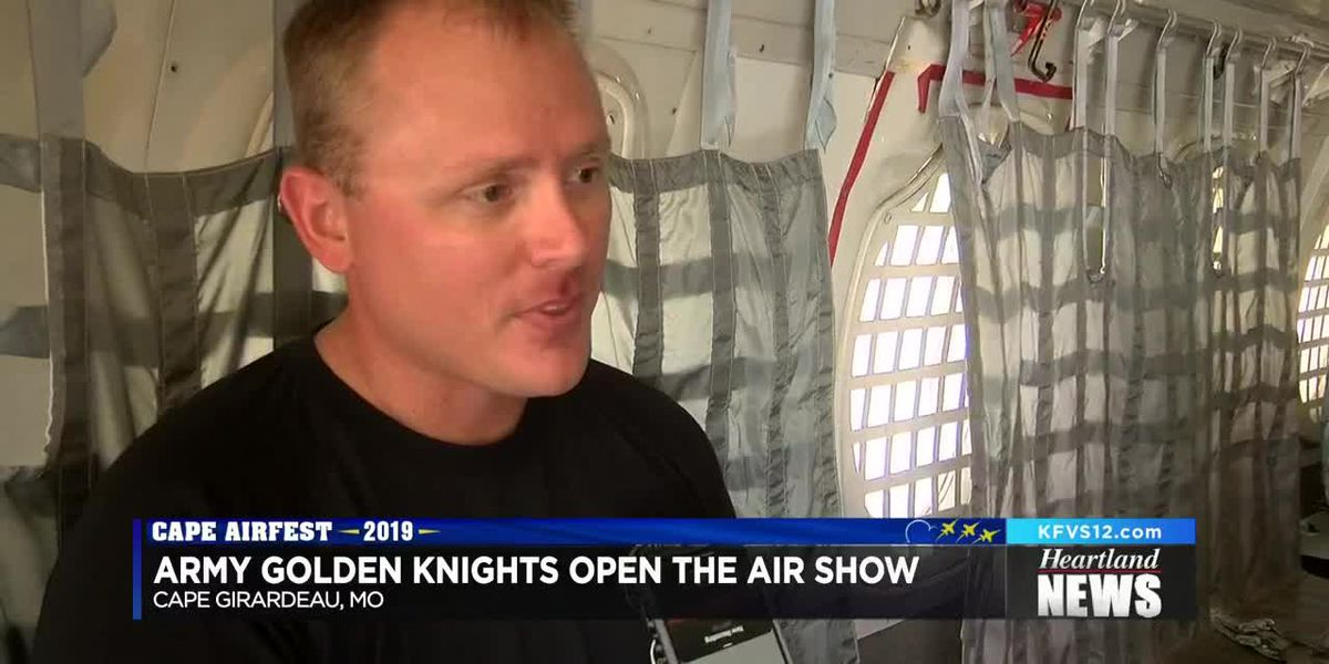 Army Golden Knights skydive at Air Show