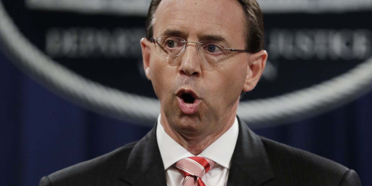 The Latest: Trump doesn't say if he plans to fire Rosenstein