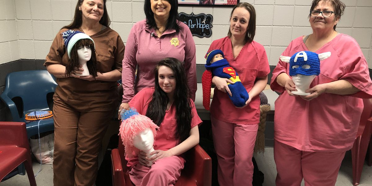 Female inmates make hats for cancer patients, kids and the homeless