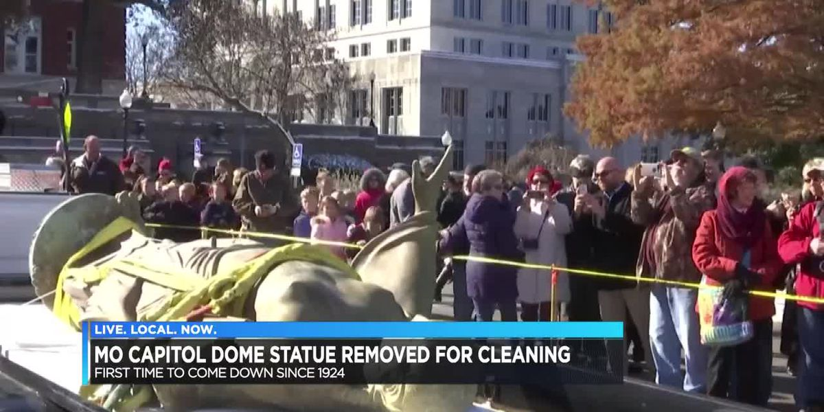 MO Capitol dome statue removed for cleaning
