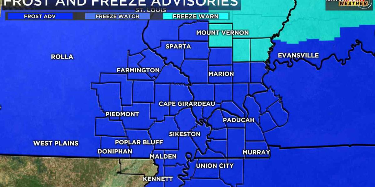 First Alert: Most of Heartland under frost advisory