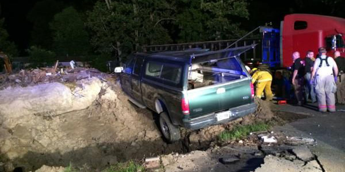 Deputies: Truck hits remains, debris of former chapel