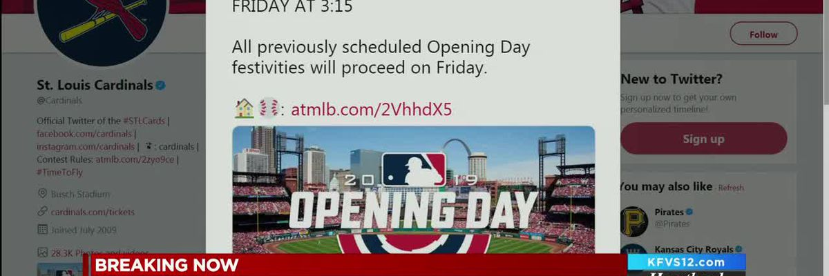 Cardinals home opener postponed to Friday