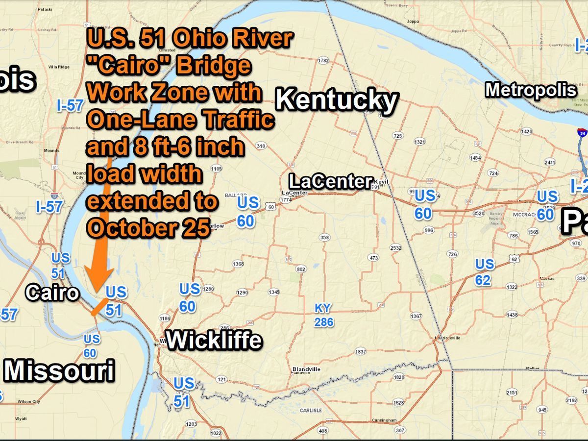 One-lane traffic on U.S. 51 Ohio River 'Cairo' Bridge extended to Oct. 25