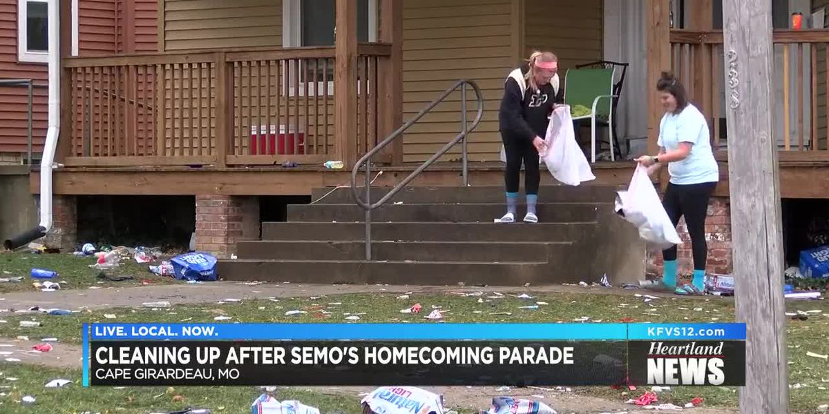 Clean up begins after homecoming festivities leave Broadway and Bellevue a mess