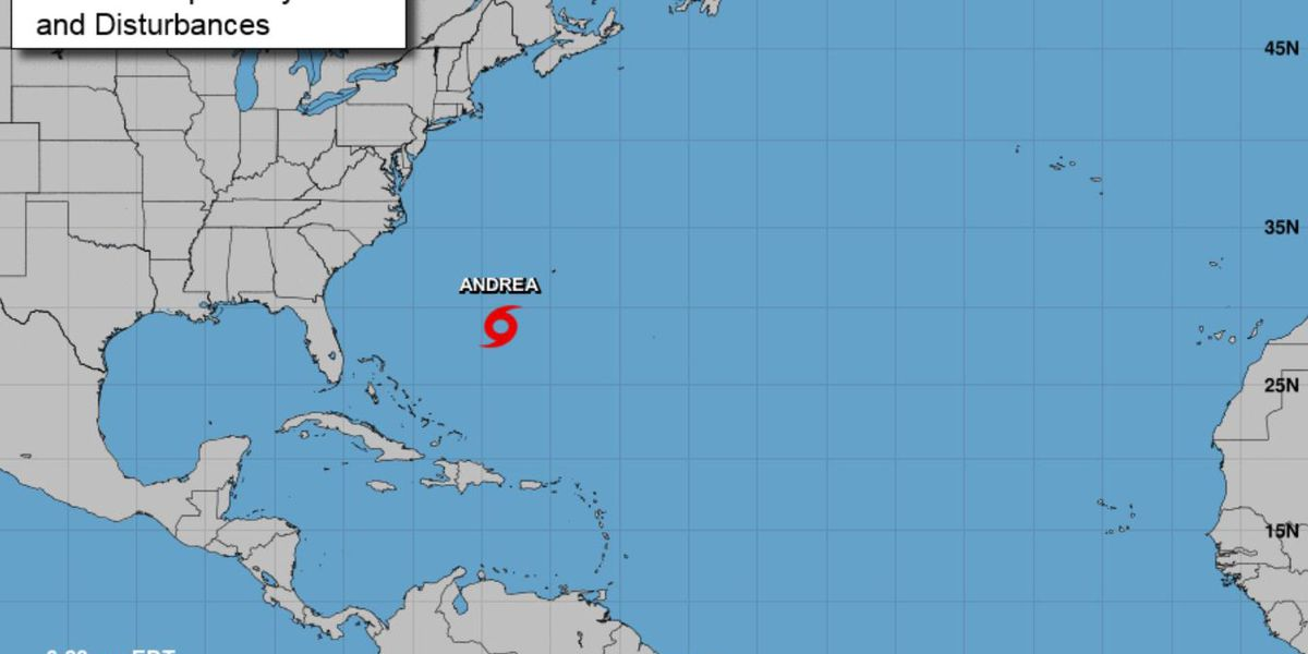 Andrea, 1st named storm of Atlantic season, downgraded to depression