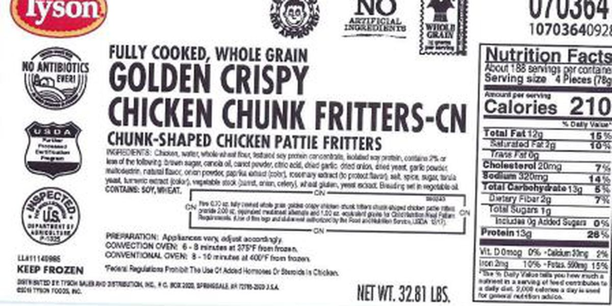 Tyson recalls 190K lbs. of chicken fritters that may be contaminated with hard plastic