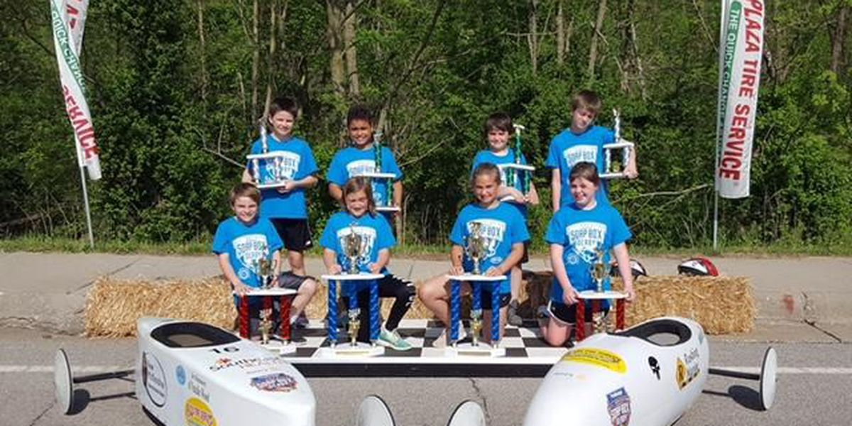 Dozens of kids compete in the Soap Box Derby Race