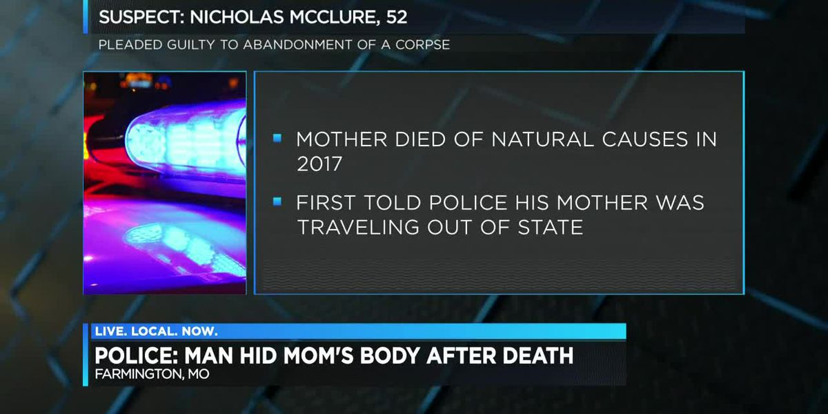 Man accused of hiding his mother's body in outbuilding