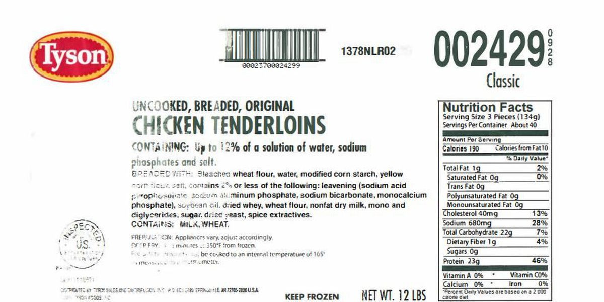 RECALL: Tyson Foods recalls breaded chicken products