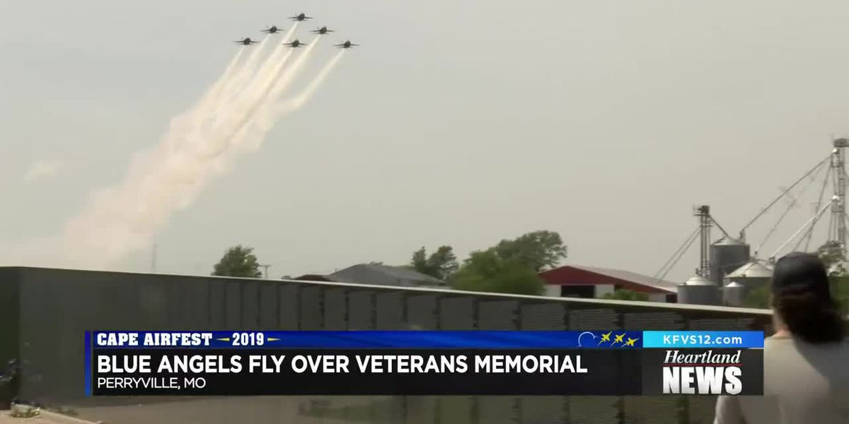 Blue Angels fly over Veterans Memorial Wall in Perryville, Mo.