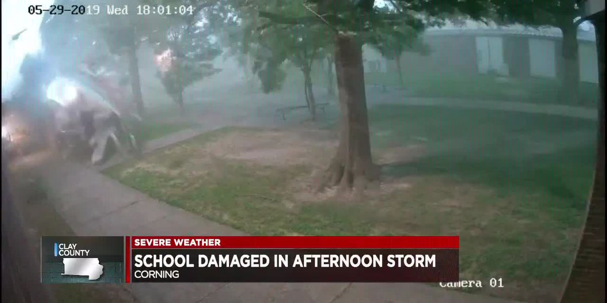 Corning High School damaged by storms