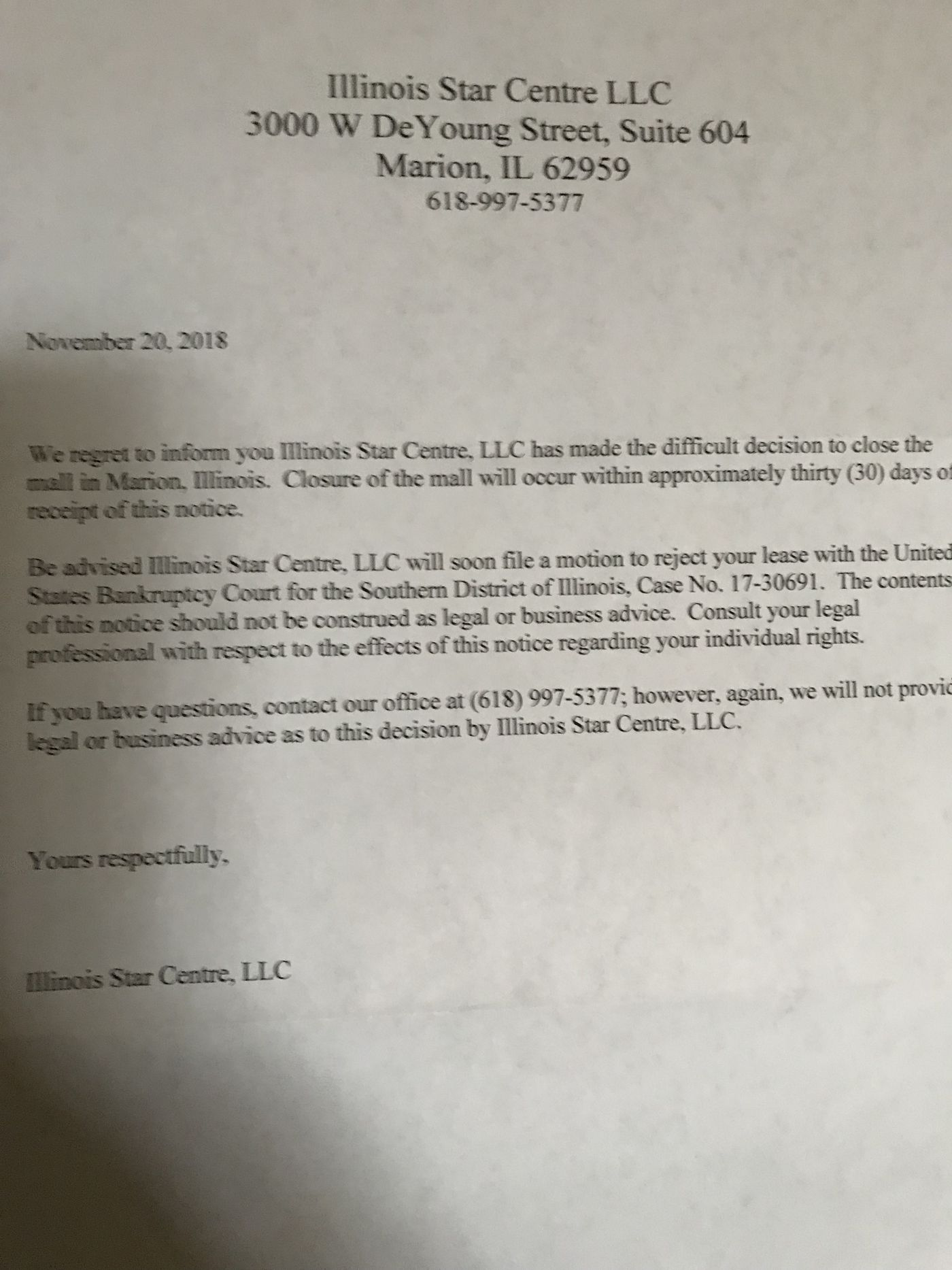 Motion Granted To Reject Unexpired Leases At Marion Il Mall