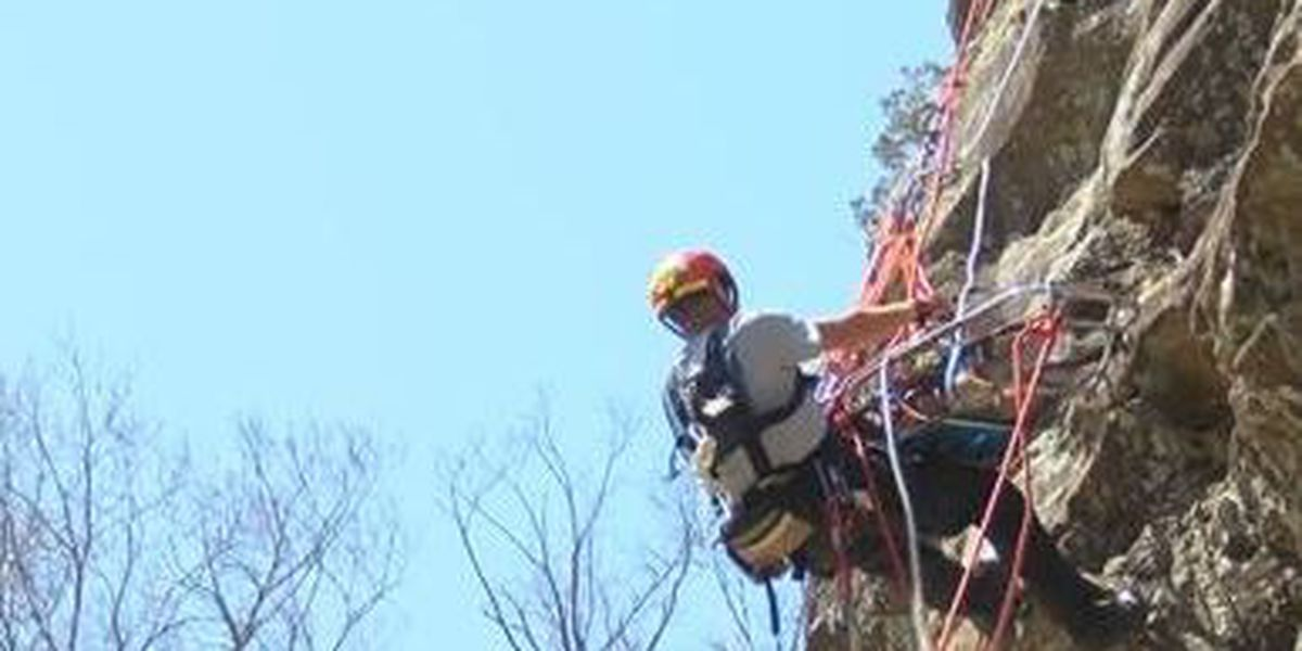 Tactical rescue team does extreme rope training at Giant City State Park