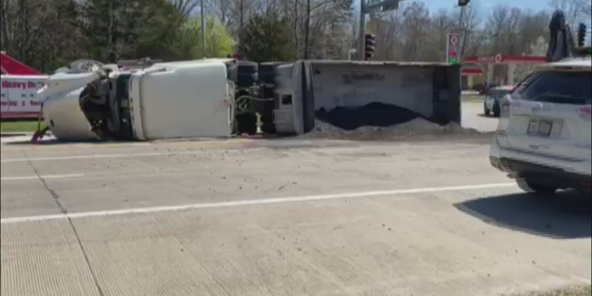 SEMI-truck hauling gravel overturns on Rte. 51, Pleasant Hill Rd. in Carbondale