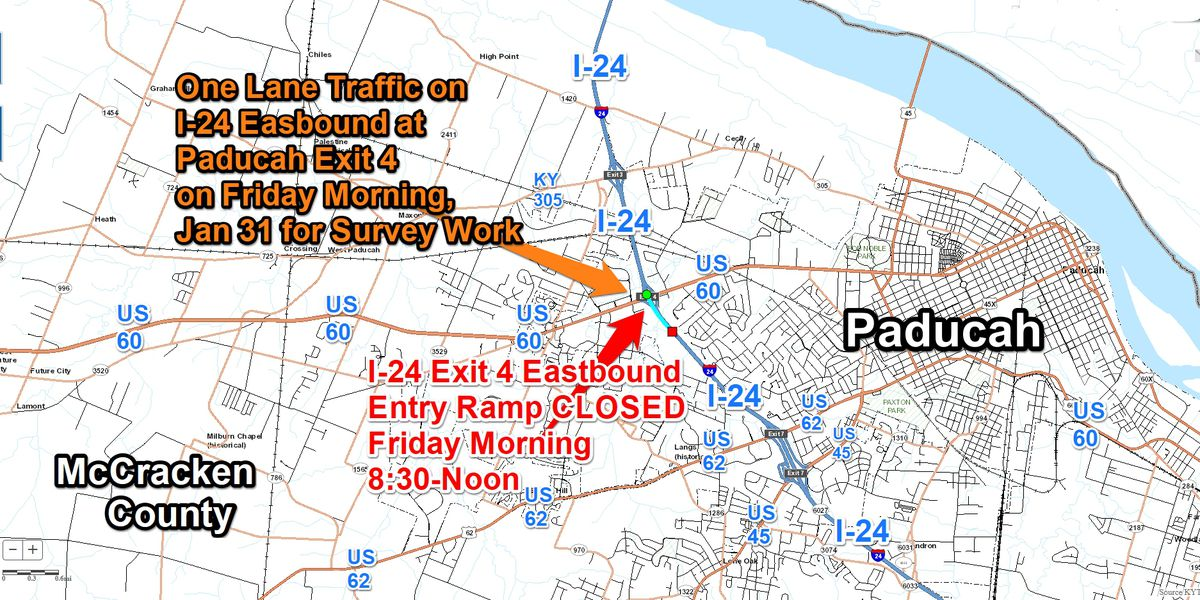 Eastbound lane, entry ramp closure completed on I-24/US 60 Paducah Exit