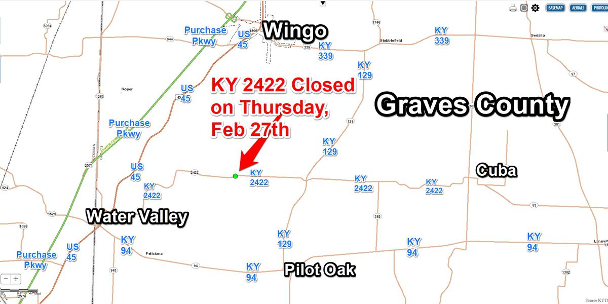KY 2422 closure in Graves Co. Feb 27