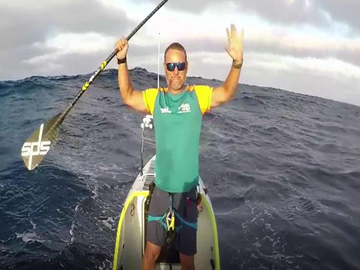 Solo endurance athlete becomes first person to cross Pacific on paddleboard