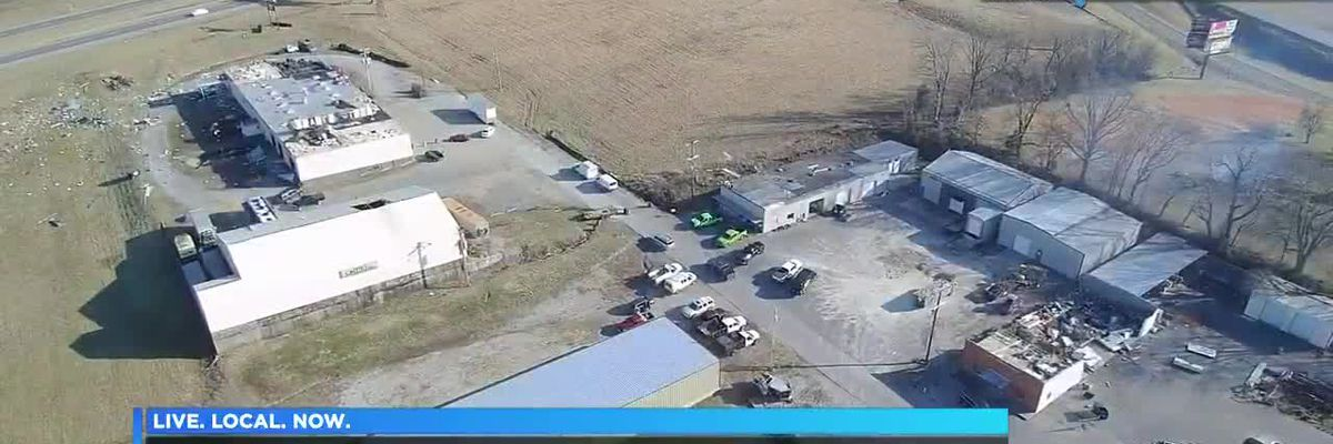 Drone video of storm damage from Jackson Mo.