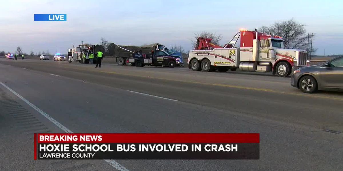 Dump truck rear-ends Hoxie school bus, 7 kids injured